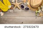 straw hat sunglasses and beach... | Shutterstock . vector #273322673