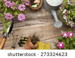 gardening tools and flower on... | Shutterstock . vector #273324623