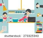 busy multitask woman  mother... | Shutterstock .eps vector #273325343