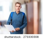 happy student man with a... | Shutterstock . vector #273330308