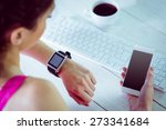 woman using her smartwatch and... | Shutterstock . vector #273341684