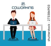 coworking design over white...   Shutterstock .eps vector #273386903