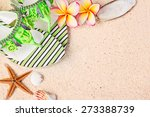 flip flops in the sand with... | Shutterstock . vector #273388739