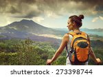 young woman  backpacker... | Shutterstock . vector #273398744