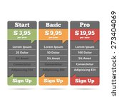 pricing table for web  vector...
