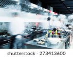 modern kitchen and busy chefs... | Shutterstock . vector #273413600
