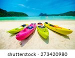 Colorful Of Kayaks Boat On The...