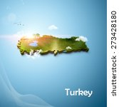 realistic 3d map of turkey | Shutterstock . vector #273428180