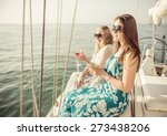 two friends on a cruise. young... | Shutterstock . vector #273438206