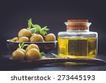 olive oil and olive  on the... | Shutterstock . vector #273445193