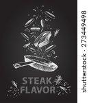 hand drawn steak flavor quotes... | Shutterstock .eps vector #273449498