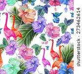 seamless pattern watercolor... | Shutterstock . vector #273462614