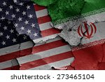 flags of usa and iran painted...   Shutterstock . vector #273465104