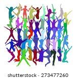 jumping people | Shutterstock .eps vector #273477260