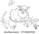 coloring with sheep | Shutterstock .eps vector #273483920