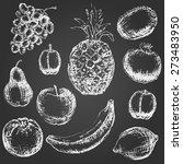 Set Of Hand Drawn Fruit....