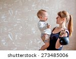 sportive laughing mother and... | Shutterstock . vector #273485006