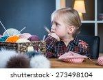 Adorable Little Girl Knitting ...
