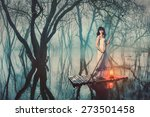 brave woman in fairy forest... | Shutterstock . vector #273501458
