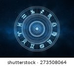 Zodiac Signs - New age horoscope with universe space and stars - stock photo