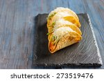 mexican tacos with meat  beans  ... | Shutterstock . vector #273519476