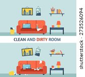 dirty and clean room. disorder... | Shutterstock .eps vector #273526094