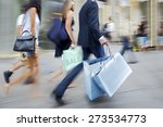 people shopping in the city in... | Shutterstock . vector #273534773