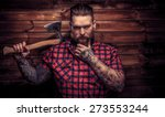 huge brutal man with beard and... | Shutterstock . vector #273553244