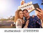 romantic couple taking selfie...   Shutterstock . vector #273555950