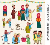 set of muslim people in... | Shutterstock .eps vector #273565010
