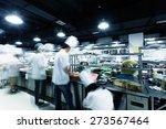 modern kitchen and busy chefs... | Shutterstock . vector #273567464
