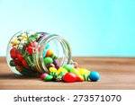 Colorful Candies In Jar On...