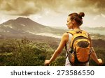 young woman  backpacker... | Shutterstock . vector #273586550