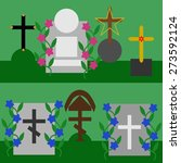 collection of tombstones and... | Shutterstock .eps vector #273592124