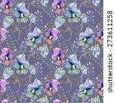 viola flower seamless pattern | Shutterstock . vector #273611258