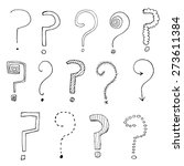 set of hand drawn question... | Shutterstock .eps vector #273611384