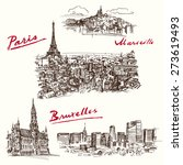 paris  marseilles  brussels  ... | Shutterstock .eps vector #273619493