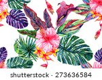 watercolor tropical flowers and ... | Shutterstock . vector #273636584