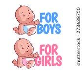 Boy And Girl Baby Logo....