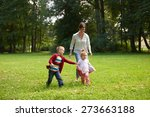 happy family playing together... | Shutterstock . vector #273663188