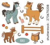 Set Of Cute Farm Animals And...