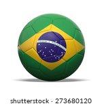 3d soccer ball with brazilian... | Shutterstock . vector #273680120