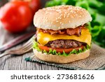 bacon burger with beef cutlet | Shutterstock . vector #273681626