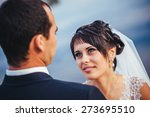 wedding  bride and groom on the ... | Shutterstock . vector #273695510