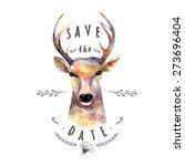 deer watercolor. save the date. ... | Shutterstock .eps vector #273696404