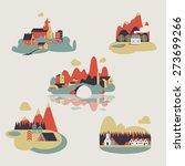 vector set of flat landscapes | Shutterstock .eps vector #273699266