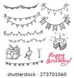 happy birthday doodle elements... | Shutterstock .eps vector #273701060