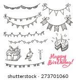 happy birthday doodle elements... | Shutterstock .eps vector #273701060