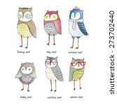 Stock vector set of watercolor funny owls 273702440