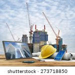 blueprints and safety helmet... | Shutterstock . vector #273718850